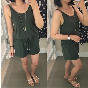 Lou & Grey Olive Drawstring Romper with Pockets